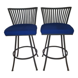 Trendler Mid Century Modern Peacock Blue Swivel Bar Stools- a Pair For Sale