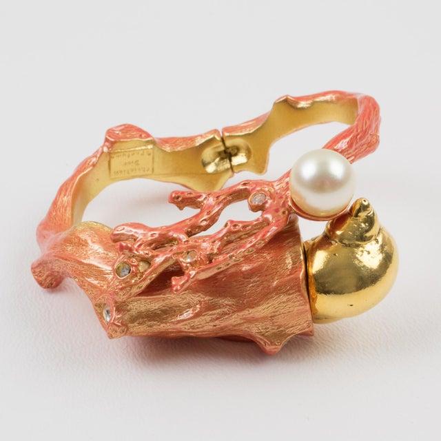 White Christian Dior Dune 1987 Gilt Metal Coral Branch Clamper Bracelet For Sale - Image 8 of 13