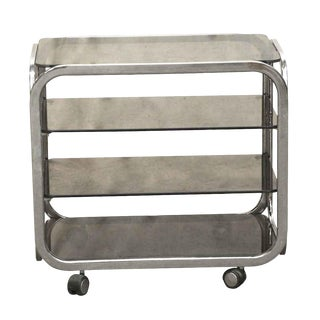 20th Century Industrial 4 Tier Bar Cart With Smoky Glass For Sale