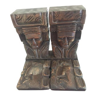 Vintage Wood Carved Aztec Bookends - A Pair For Sale
