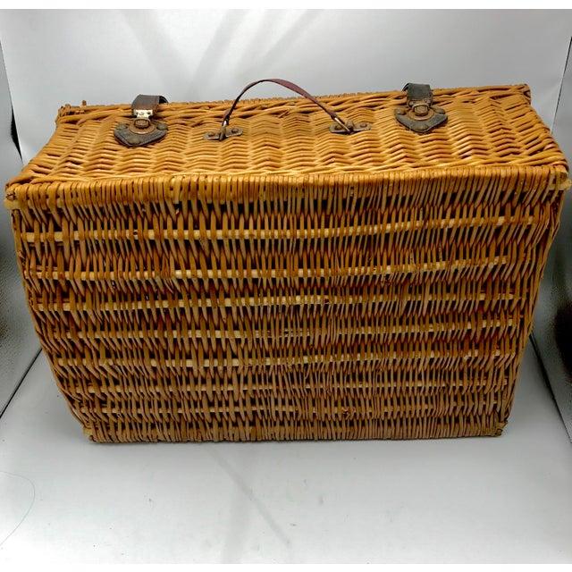 1950s Vintage Wicker Suitcase Basket For Sale - Image 4 of 5