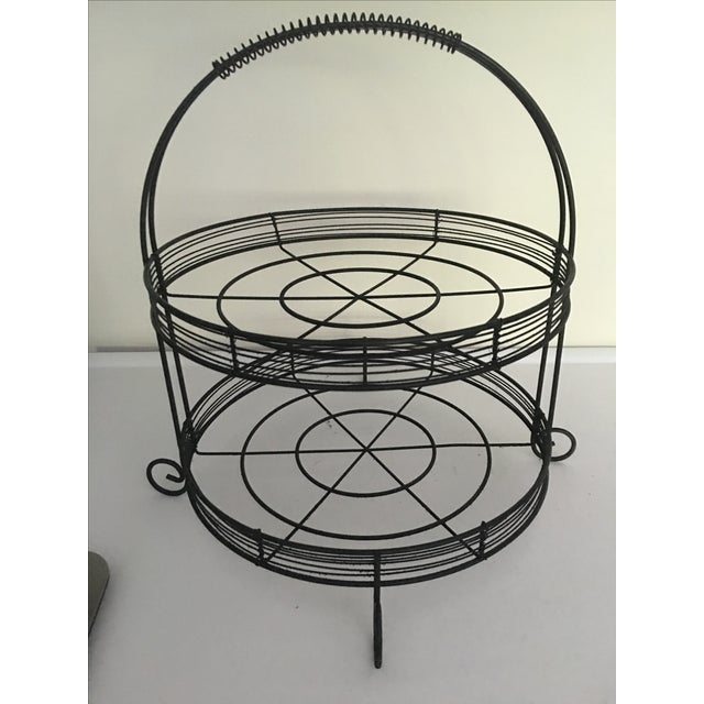 French Country Two-Tiered Wire Stand - Image 4 of 4