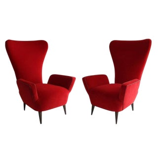 Pair of Rare Low-Slung Modern Italian Sculptural Chairs For Sale