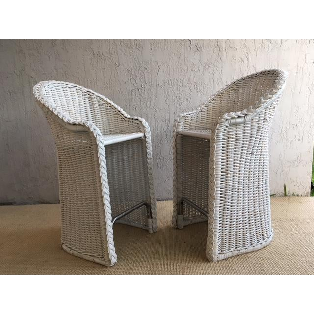Woven Rattan Bar Stools - a Pair For Sale - Image 9 of 9