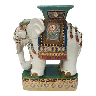 20th Century Chinoiserie Ceramic Elephant Garden Stool For Sale