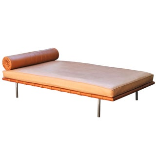 Mies Van Der Rohe Attributed Barcelona Daybed in Brown Leather For Sale