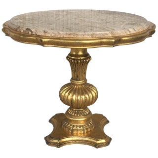 20th Gold Wood Italian Hollywood Regency Marble Top End Table For Sale
