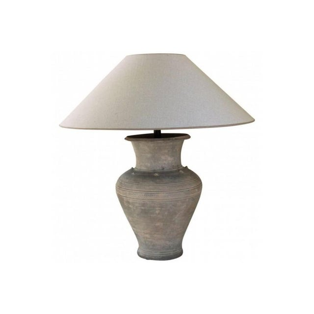 Large Unglazed Khmer Vase as Table Lamp For Sale - Image 12 of 12