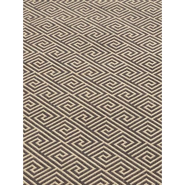 Custom Stark Greek Key Wool + Leather Serge Area Rug For Sale - Image 10 of 12