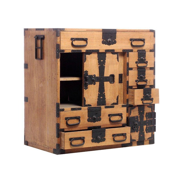 Asian Antique Kiri Wood Meiji Japanese Merchants Chest with Iron Accents, 19th Century For Sale - Image 3 of 6