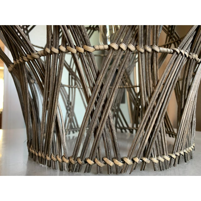 Large Dusty Grey Green Rattan Bell Pendant Light by Kalalou For Sale - Image 9 of 13