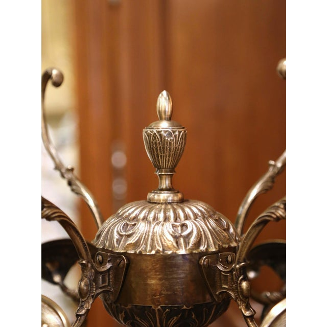 Early 20th Century French Walnut Barley Twist and Gilt Brass Standing Hall Tree For Sale - Image 4 of 11
