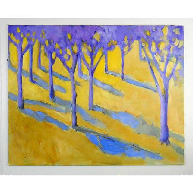OIl on canvas board modernist forest landscape in purple and yellow. Unsigned. From the estate of the family of Texas...