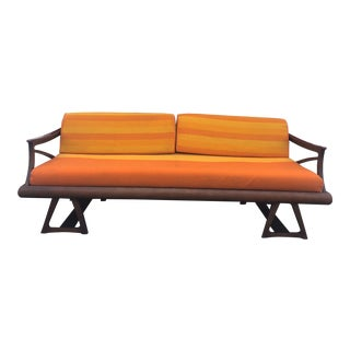 Mid Century Modern Sofa With Walnut Frame For Sale