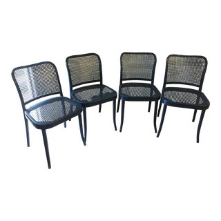Stendig Blue Bentwood Cane Chairs - Set of 4