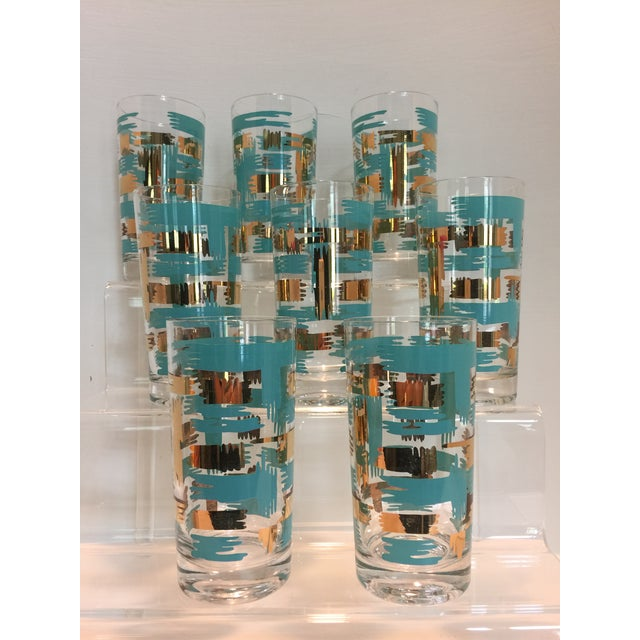 Set of 8 Mid Century Vintage Turquouse and Gold Brush Stroke Highball Tumbler Glasses - Image 2 of 5