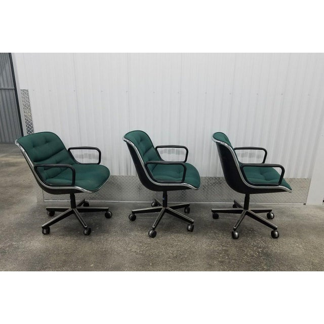 Knoll 1980's Mid-Century Modern Knoll Charles Pollack Cloth Office Chairs - Set of 3 For Sale - Image 4 of 10