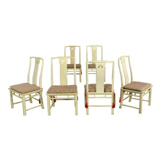 White Fine Furniture Asian Ming Chinoiserie Style Off White Lacquer Dining Chairs Six For Sale