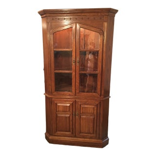 Corner China Cabinet With 3 Shelves For Sale