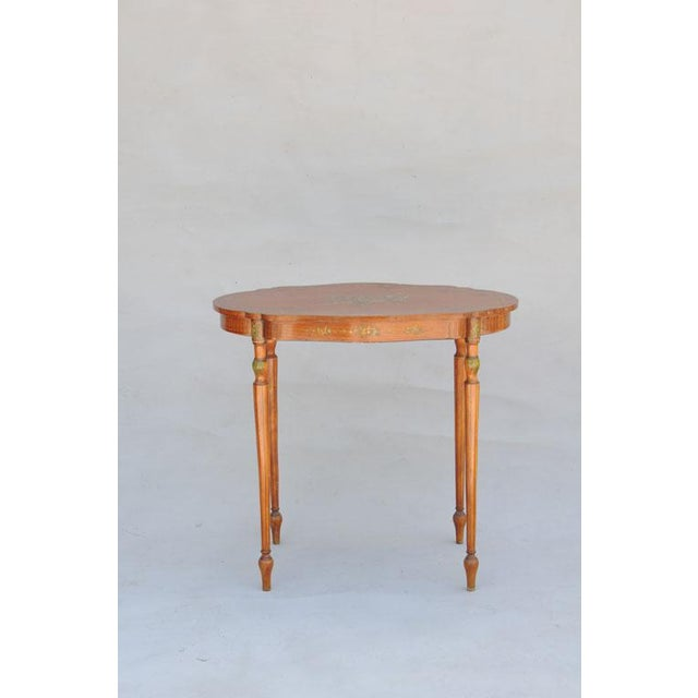 English Traditional Exquisite Hand Painted Satinwood Table For Sale - Image 3 of 10
