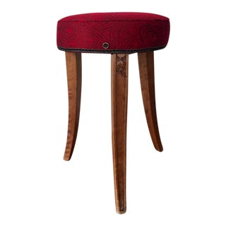 Early 20th Century French Art Deco Wood and Red Fabric Round Stool For Sale
