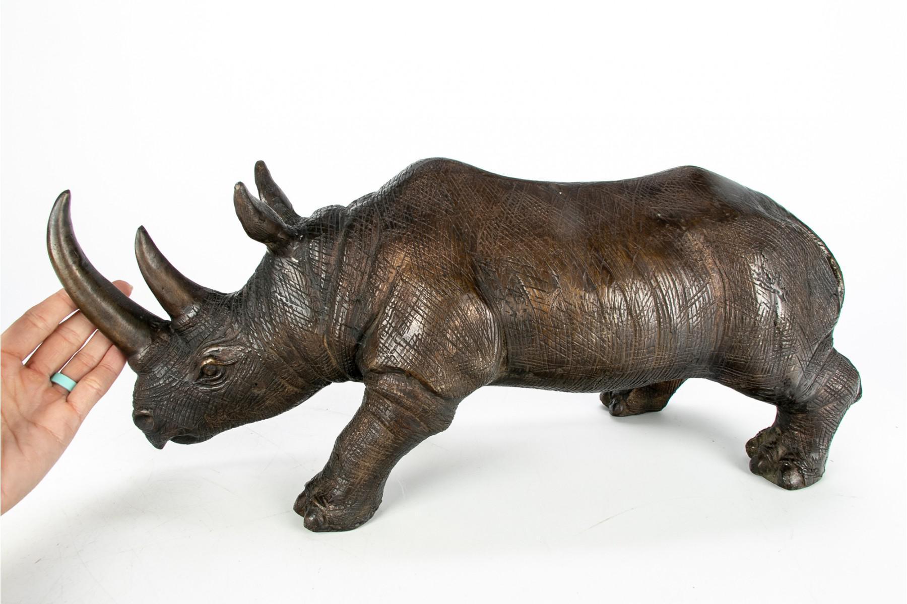 Vintage Mod Large Lucite Rhino Figurine