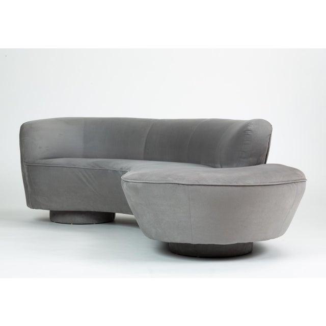 1990s Vladimir Kagan Gray Cloud Sofa With Ottoman For Sale - Image 5 of 13