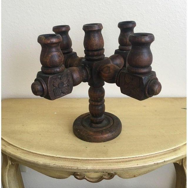 Spanish Revival Hand Carved Candelabra - Image 6 of 9