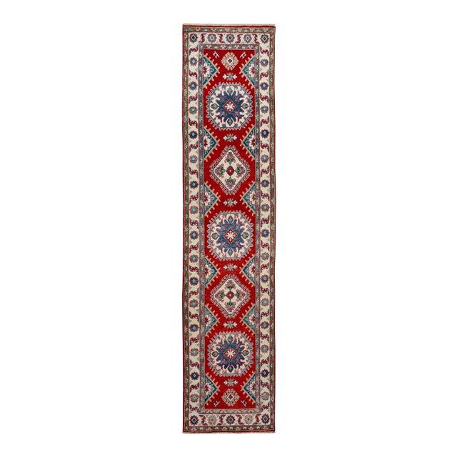 "Kazak Garish Zane Red Ivory Wool Rug - 2'"" x 9'9"" For Sale"
