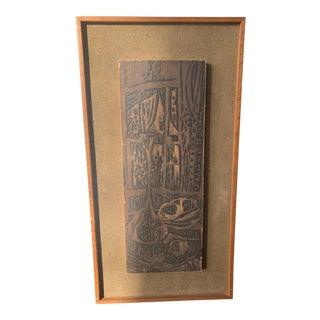 Mid 20th Century Modernist Woodcut on Linen, Framed For Sale
