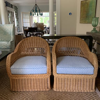 Pair of Henry Link Vintage Rattan and Wicker With Galbraith & Paul Linen Chairs Preview