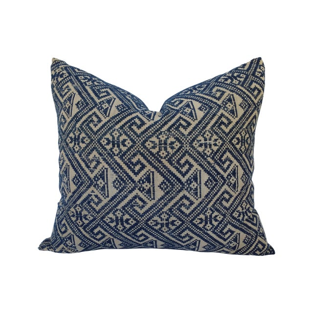 Hill Tribe Embroidered Indigo Silk Pillow - Image 1 of 5