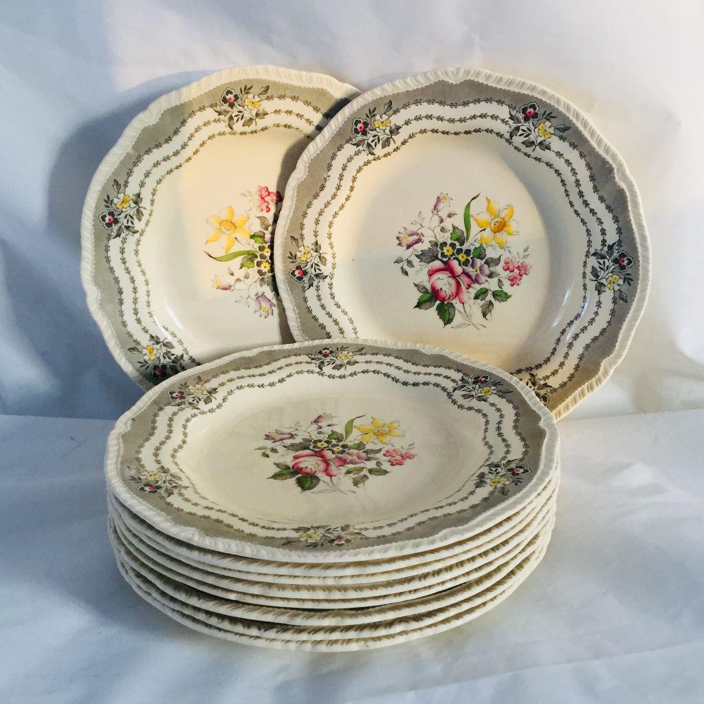 Vintage Cottage Style Floral Plates - Set of 10 - Image 4 of 7  sc 1 st  Chairish & Vintage Cottage Style Floral Plates - Set of 10 | Chairish