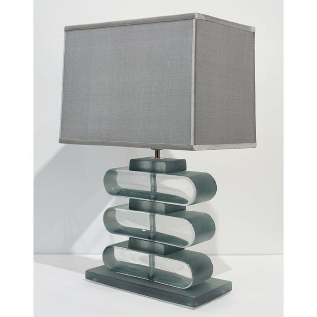 Italian Modern Nickel and Smoked Aqua Murano Glass Architectural Lamps - a Pair For Sale - Image 9 of 10