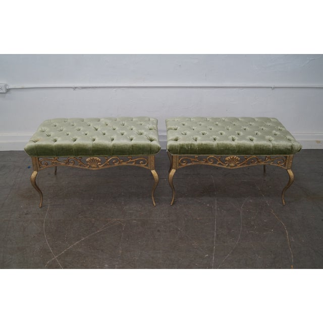 Quality Pair of French Louis XV Style Gilt Metal Tufted Ottomans Benches AGE/COUNTRY OF ORIGIN: Approx 30 years, America...