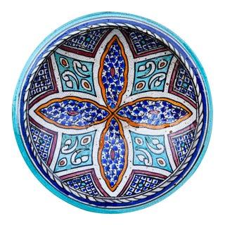 Antique Polychrome Moorish Ceramic Plate For Sale