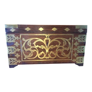 British Colonial Antique Brass-Inlaid Chest For Sale