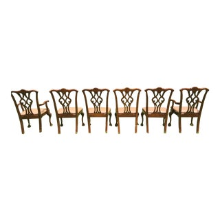 1970s Mahogany Chippendale Statesville Chairs - Set of 6 For Sale