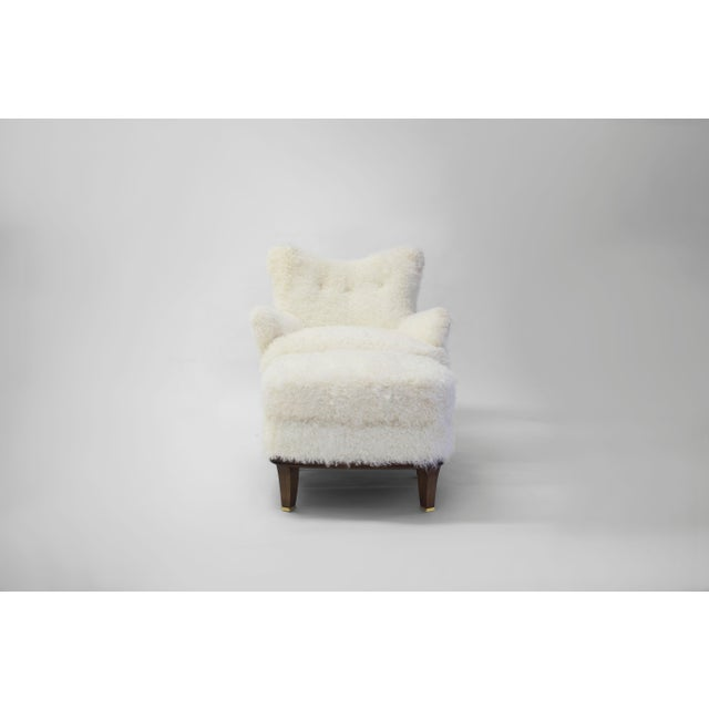 Shearling Covered Shaped Back Chair With Wood Base and Legs With Metal Cap Feet For Sale - Image 9 of 11