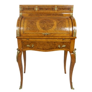 19th Century French Louis XV Marquetry Bureau De Dame For Sale