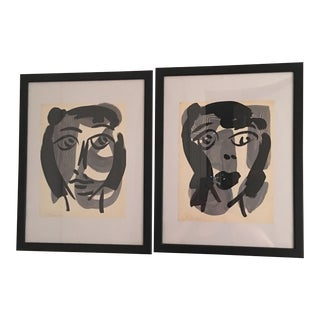 Peter Keil Matching Abstract Face Paintings, a Pair