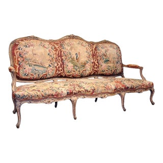 18th Century French Louis XV Carved Giltwood Canapé With Aubusson Tapestry For Sale