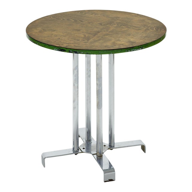 Vintage Wood and Tubular Steel Side Table Designed by Alfons Bach for Lloyd Loom Products For Sale