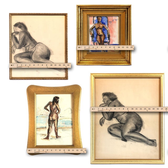 (safe, smart, minimal touch delivery available for Chicago) Curated gallery wall of four vintage Mid-Century American nude...