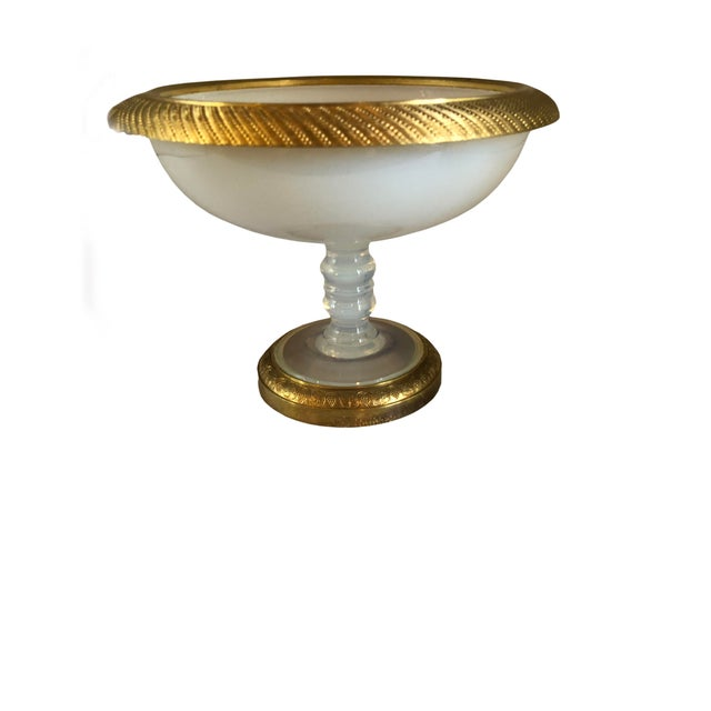 Glass Ormolu Gilt Opaline Compote For Sale - Image 7 of 7
