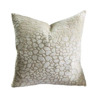"""Custom Made Contemporary Chalk Leopard 18"""" Pillow Cover For Sale"""