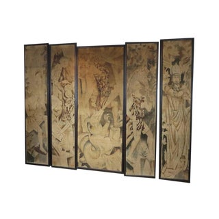 Art Deco Theatre Painted Tapestry Panels, Set of Five For Sale