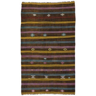 "Boho Chic Vintage Turkish Tribal Striped Kilim Rug - 7' X 11'7"" For Sale"