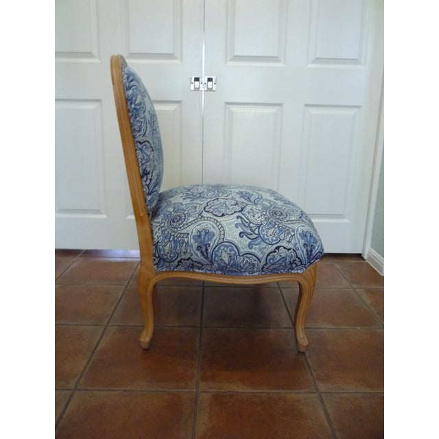 Wood Vintage Blue Paisley French Provincial Armless Chair For Sale - Image 7 of 8