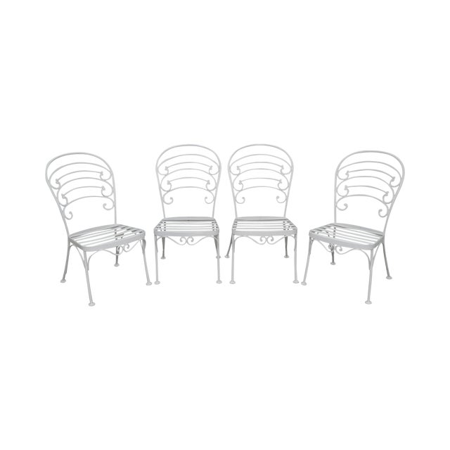 Woodard Set of 4 White Painted Scrolled Iron Patio Dining Chairs For Sale